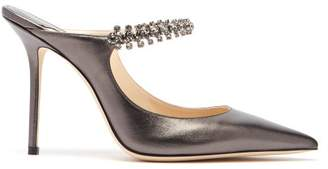 Jimmy Choo Bing 100 Crystal Embellished Leather Mules - Womens - Dark Grey
