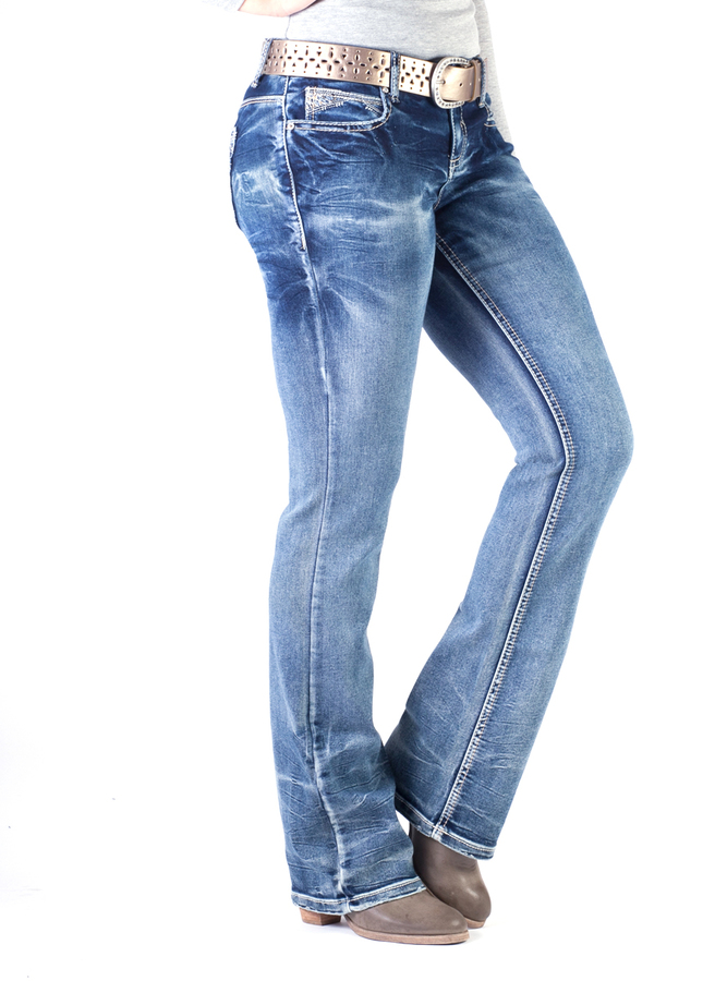 Zoey Sequin Slim Mid-Rise Bootcut Jeans
