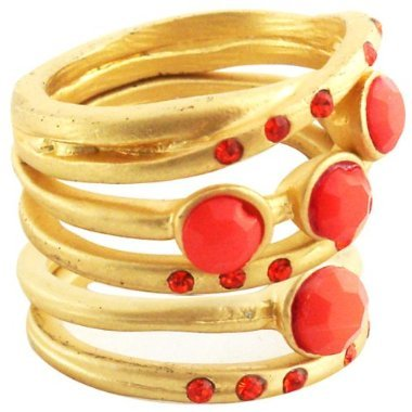 5Pc Pink Coral Beads Matte Stack Rings