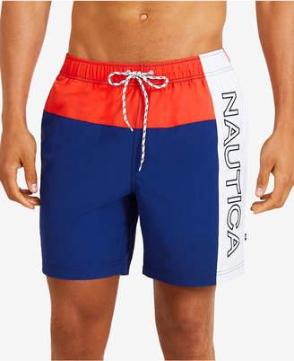 "Nautica Mens Vintage Heritage Colorblocked 8"" Swim Trunks"