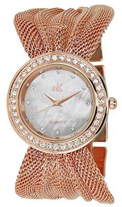 Adee Kaye Fame ak20-lrg 32.5 MM真鍮ケースローズゴールド真鍮Mineral Women 's Watch
