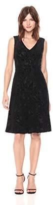 Tommy Hilfiger Women's Paisley Velvet Burnout V Neck Dress