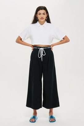 Topshop Wash Black Pleated Crop Jeans