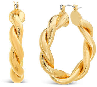 Steve Madden Medium Gold Twisted Hoop Earring 1.6""