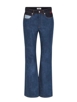 mixed patch jeans