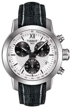 Tissot Women's PRC 200 Fencing Chronograph Lady Croc Embossed Leather Strap Watch, 34mm