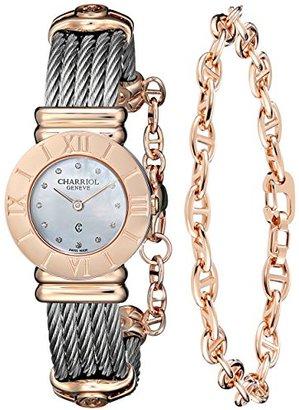 Charriol サントロペ'レディースダイヤモンドダイヤルステンレススチールクォーツ腕時計028rp。540.326