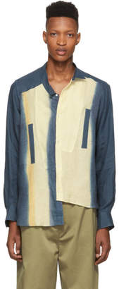 Loewe Blue and Beige Tie-Dye Asymmetric Shirt