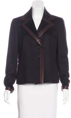 Akris Leather-Trimmed Cashmere Blazer