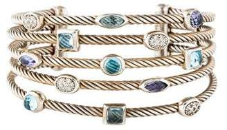David Yurman Topaz, Iolite, & Diamond Five Row Confetti Cuff