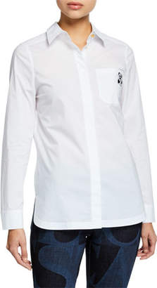 Escada Sport Bulldog-Embroidered Button-Front Shirt
