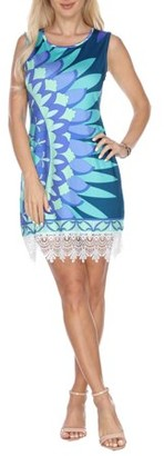 White Mark Women's Sun Flower Printed Crochet Trim Mini Dress