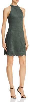 Aqua Scalloped Faux Suede A-Line Dress - 100% Exclusive