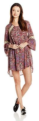 Angie Women's Juniors Shift Dress with Crochet Insets