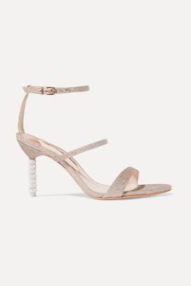 Sophia Webster Rosalind Crystal-embellished Glittered Canvas Sandals - Gold