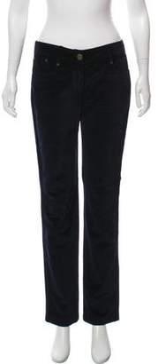 Alexander McQueen Velvet Mid-Rise Pants