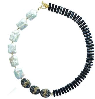 Farra - Rectangle Freshwater Pearls & Black Coral Necklace