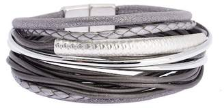 Saachi Sophisticated Hammered Tube Leather & Faux Suede Multi-Strand Bracelet