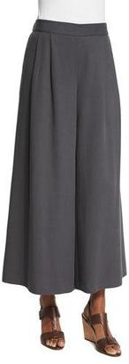 Eileen Fisher Woven Tencel® Grain Wide-Leg Cropped Pants, Bark $198 thestylecure.com