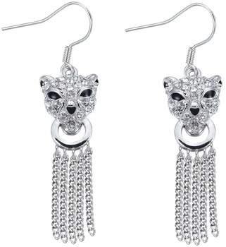 Blue Pearls Ohrringe Rhodiumplattierte Panther-Hänge-Ohrringe mit weißen Swarovski El