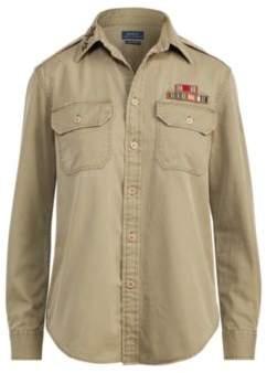 Ralph Lauren Cotton Chino Military Shirt Green 4