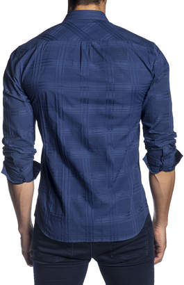 Jared Lang Men's Semi-Fitted Tonal Plaid Long-Sleeve Button-Down Shirt