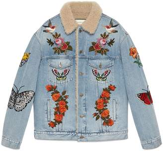 Embroidered denim jacket with shearling $4,950 thestylecure.com