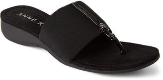 Anne Klein Black Kristen Wedge Thong Sandals