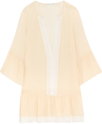 Eberjey - Tessa Broderie Anglaise-trimmed Crinkled Gauze Mini Dress - Cream $135 thestylecure.com