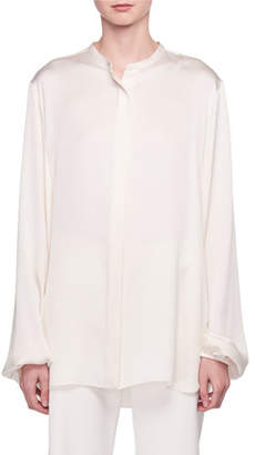 The Row Maura Button-Front Silk Satin Shirt