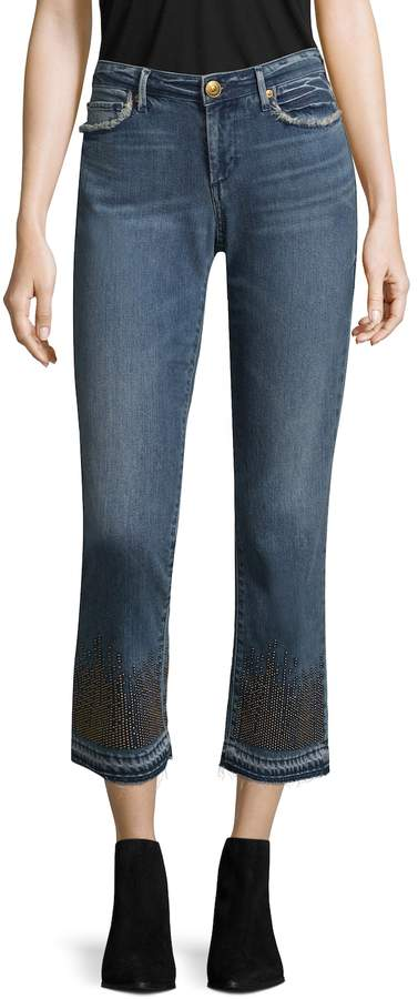 True Religion Women's Cora Mid Rise Straight Crop Cotton Jeans