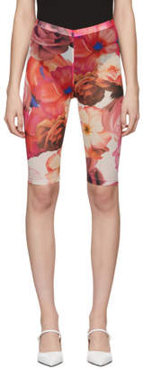 MSGM White and Pink Flower Tulle Shorts