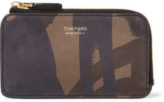 Tom Ford Camouflage-Print Nubuck Zip-Around Cardholder