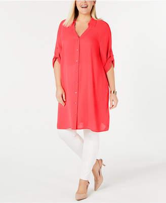 Alfani Plus Size Roll-Tab Tunic Shirt