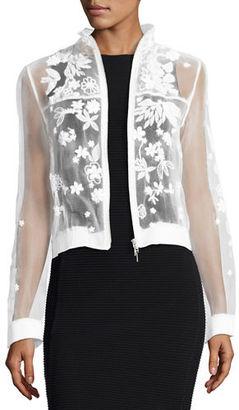 Elie Tahari Suri Embellished Floral Silk Bomber Jacket $398 thestylecure.com