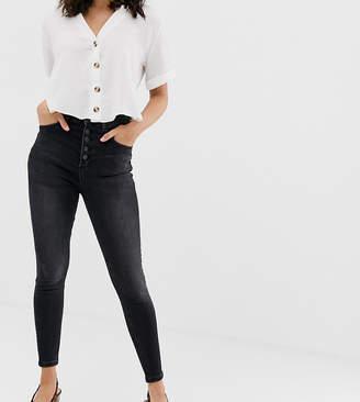 Stradivarius 4 button super skinny jean in washed black