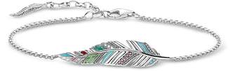 Thomas Sabo Blackened Sterling Silver, Enamel and Glass-ceramic Stones Feather Bracelet