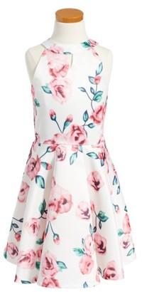 Girl's Elisa B Floral Fit & Flare Dress $53 thestylecure.com