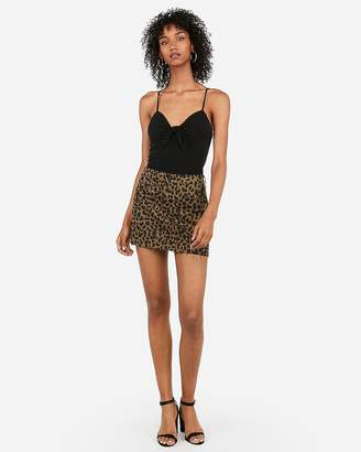Express Mid Rise Leopard Denim Mini Skirt