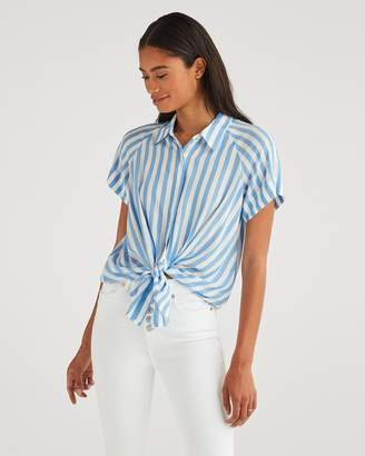 7 For All Mankind Cap Sleeve Tie Front Shirt in Blue and White Stripe