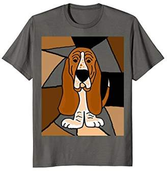 Smiletodaytees Funny Basset Hound Abstract art T-shirt