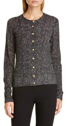 Dolce & Gabbana Logo Button Herringbone Print Wool Cardigan