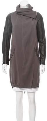 AllSaints Luna Leather-Accented Parka