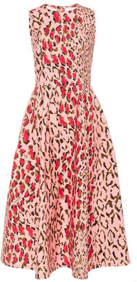 Carolina Herrera Leopard-Print Cotton-Blend Midi Dress Size: 2