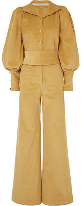 Anna Mason Jane Belted Cotton-corduroy Jumpsuit