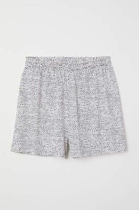 H&M Modal-blend Shorts - White/black dotted - Women