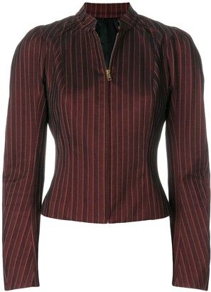 John Galliano Pre-Owned pinstriped zipped blouse