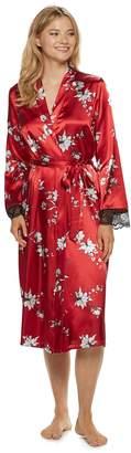 Apt. 9 Women's Floral Satin Midi Robe