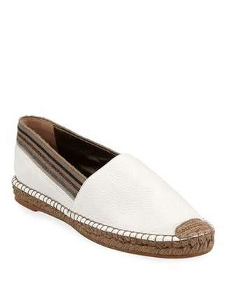 Brunello Cucinelli Flat Leather Slip-On Espadrilles with Striped Cuff