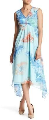 Gabby Skye Ruched Palm Leaf Midi Dress